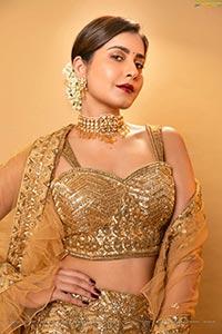 Raashi Khanna in Shimmering Golden Lehenga