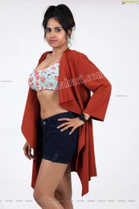 Simar Singh in Floral Crop Top and Denim Shorts