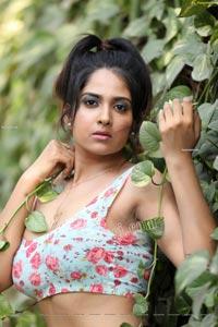 Simar Singh in Floral Crop Top and Denim Shorts