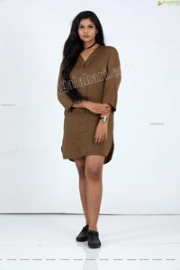 Twinkle Thomala in Brown Hi-Low Hem Tunic