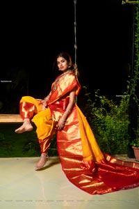 Divi Vadthya in Yellow Silk Saree