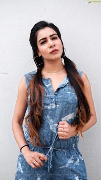 Sanjana Anne in Denim Mini Jumpsuit