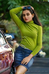 Vaanya Aggarwal in Green Knitted T-Shirt and Denim Skirt