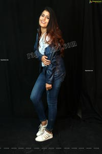 Chanchal Sharma in Blue Leather Jacket and Jeans