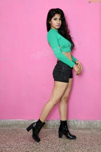 Sheetal Bhatt in Seafoam Green Crop Top and Denim Shorts