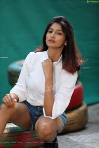Sulagna Karmakar in White Crop Top and Denim Shorts