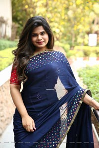 Alekhya Kondapalli in Navy Blue Embellished Saree