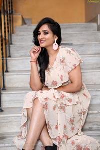 Madhu Krishnan in Beige Floral Frill Dress