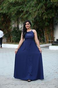 Madhu Krishnan in Navy Blue Spaghetti Strap Dress