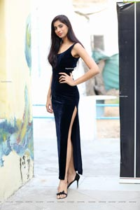 Naziya Khan in Navy Blue High Slit Velvet Dress