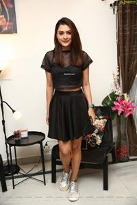 Payal Rajput in Black Mini Skirt and Crop Top