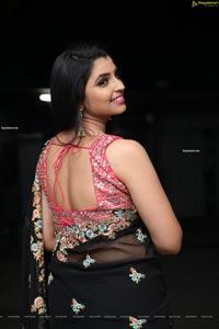 Anchor Shyamala in Black Georgette Saree