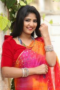 Shabeena Shaik in Beautiful Yellow and Pink Saree