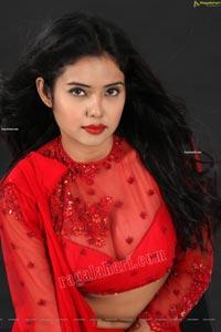 Swati Mandal in Red Crop Top Lehenga