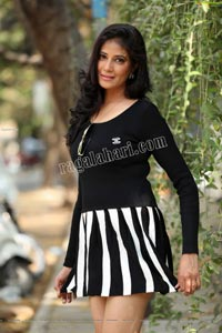 Aaliya Abraham in Black Mini Dress