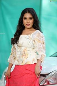 Anusha Parada in Red Embellished Lehenga