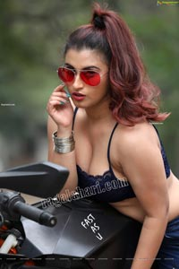 Gunnjan Aras Posing on Motorcycle
