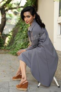 Nisheetha in Gray Notched Collar Long Coat