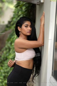 Saafi Kaur in High Waist Package Hip Mini Skirt