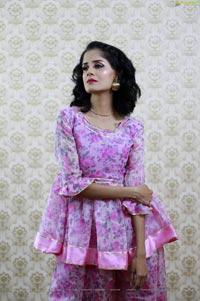 Anukriti Govind Sharma in Pink Floral Ruffle Dress