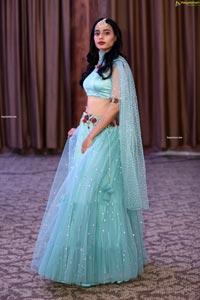 Farida Yousuf in Blue Lehenga Choli