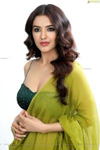 Malvika Sharma in Pear Green Saree