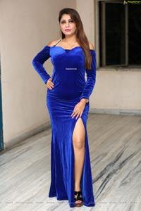 Sejal Mandavia in Royal Blue Velvet Dress