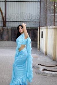 Shunaya Solanki in Blue Ruffle Saree