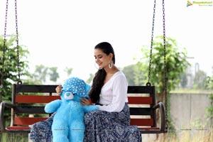 Vaanya Aggarwal in Blue Printed Maxi Skirt and White Top