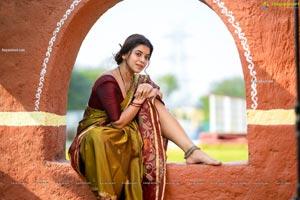 Yamini Bhaskar in Village Belle Look in Green Saree