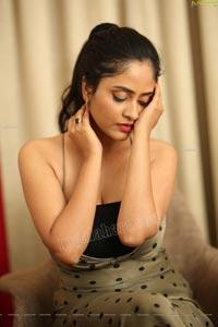 Sanya Thakur in Moss Green Polka Dot Dress
