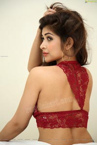 Srijita Ghosh in Red Lace Bralette Crop Top and Jeans