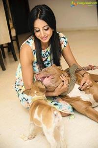 Sanjjanaa Galrani Poses With Her Pet Dog