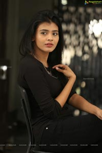 Hebah Patel in Black Dress