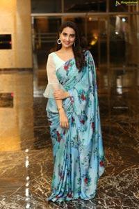 Manjusha in Light Blue Floral Saree