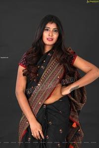 Aishwarya T in Black Saree Exclusive Shoot