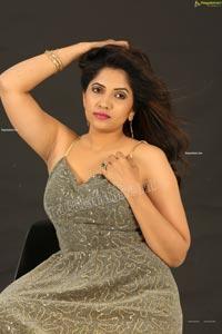 Anchor Indu in Gray Glitter-Knit Long Dress