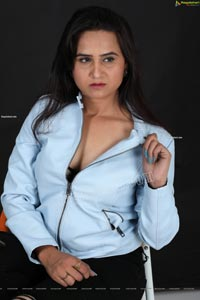 Preyasi Jiggar in Sky Blue Leather Jacket