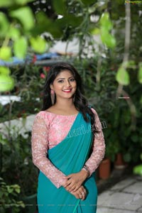 Shabeena Shaik in Light Blue Saree and Pink Blouse