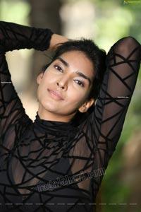 Supraja Narayan in Black Lace Top and Shorts