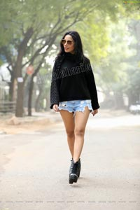 Tueeshaa in Black Turtle Neck T-Shirt and Denim Shorts
