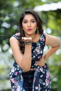 Anchor Indu in Navy Blue Floral Front Slit Top
