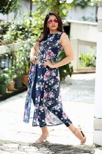 Anchor Indu in Navy Blue Floral Front Slit Top