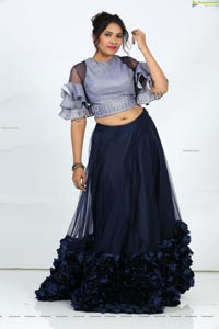 Anchor Indu in Navy Blue Ruffle Lehenga