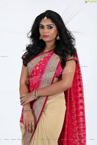 Lasya Sri in Pink and Cream Designer Saree