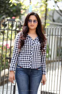 Preyasi Jiggar in Blue Checked Shirt and Jeans
