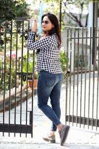 Preyasi Jiggar in Blue Checked Shirt and Jeans