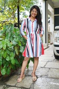 Shabeena Shaik in Striped Knee-Length Dress