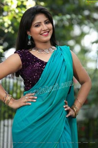 Shabeena Shaik in Light Teal Blue Saree