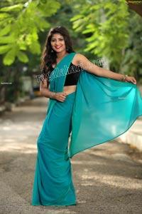 Shabeena Shaik in Light Teal Blue Saree